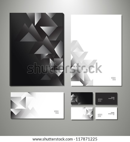 Abstract business set. Corporate identity templates: blank, business cards, badge, envelope. Vector illustration