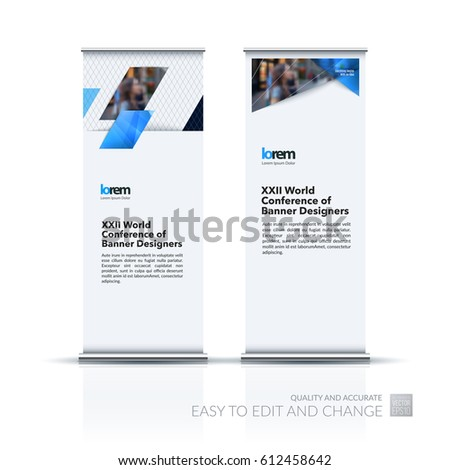 Abstract business vector set of modern roll Up Banner stand design template with blue diagonal, rectangular shapes for exhibition, show, exposition, expo, presentation, parade, events.