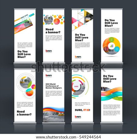 Abstract business vector set of modern roll Up Banner stand design template with colourful soft shapes, rounds for exhibition, fair, show, exposition, expo, presentation, festival, parade, events.