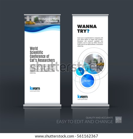 Abstract business vector set of modern roll Up Banner stand design template with soft waves, smooth shapes for exhibition, fair, show, exposition, expo, presentation, festival, parade, events. #561162367