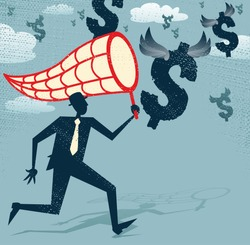 Abstract Businessman chasing and netting Dollars. Vector illustration of Retro styled Businessman catching all the money with his giant cash catching net.
