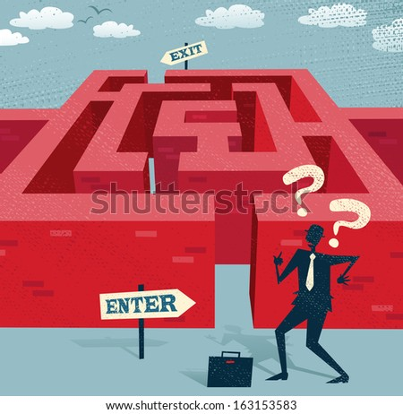 Abstract Businessman embarks on a difficult Maze journey. Great illustration of Retro styled Businessman with a very difficult task ahead of him to find his way through a maze to the other side.