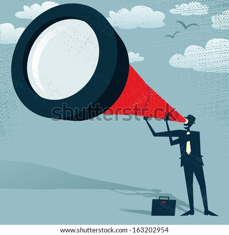 Abstract Businessman looks through his Telescope. Great illustration of Retro styled Businessman who's getting a really great view of the business landscape with his gigantic telescope.
