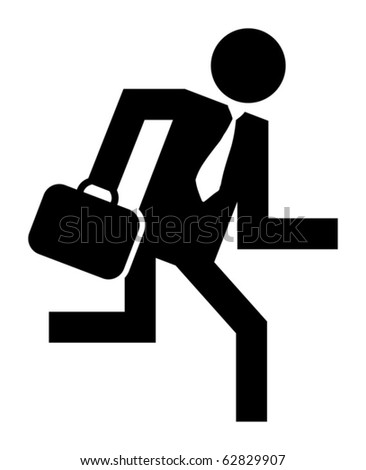 Abstract businessman running icon, vector illustration