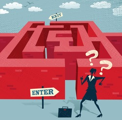 Abstract Businesswoman embarks on a difficult Maze journey. Great illustration of Retro styled Businesswoman with a very difficult task ahead of her to find her way through a maze to the other side.