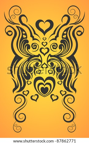 Abstract Butterfly And Heart Tribal Tattoo Stock Vector 87862771