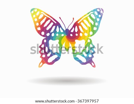 abstract butterfly colorful icon