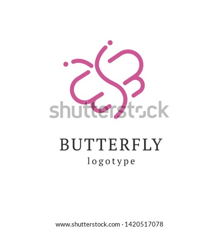 Abstract Butterfly illustration. Manicure, styling, haircut, makeup, stylist, fashion logo design. Model agency, Women's beauty salon, massage, cosmetic vector logotype template. #1420517078