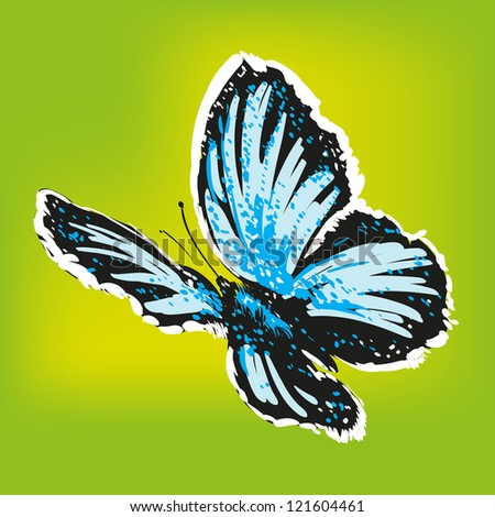 abstract butterfly on green background vector illustration