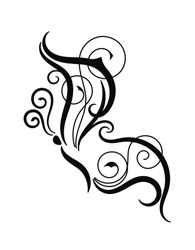 Abstract butterfly silhouette with swirl pattern. Black isolated decorative tribal tattoo vector illustration on white background