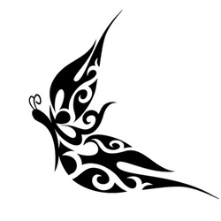 Abstract butterfly tattoo with ornamental wings. Vector illustration.