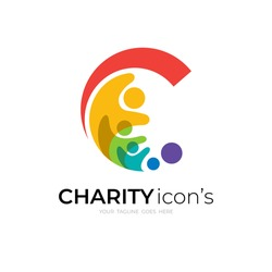 Abstract C logo and family design combination, colorful logo with people