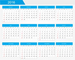 Abstract calendar for 2016.Planning calendar 2016.Week starts from Sunday.Vector template.
