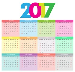 Abstract calendar for 2016.Week starts from sunday.Vector illustration.