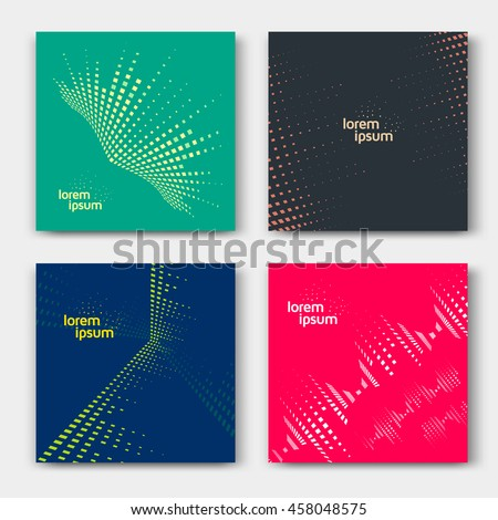 Abstract cards with line graphic equalizer. Music backgrounds. Vector