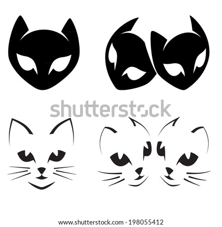 abstract cats icons on white