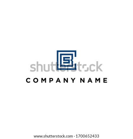 abstract cbs logo design vector image with square monogram concept illustration