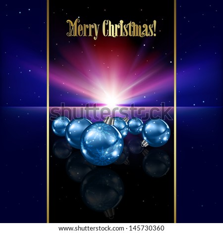 Abstract celebration background with blue Christmas decorations and stars