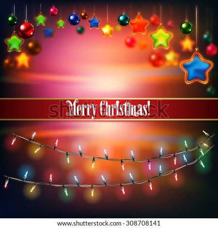 Abstract celebration background with Christmas lights and decorations on red