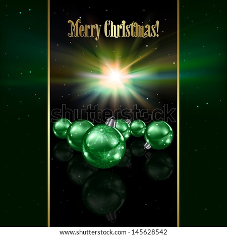 Abstract celebration background with green Christmas decorations and stars