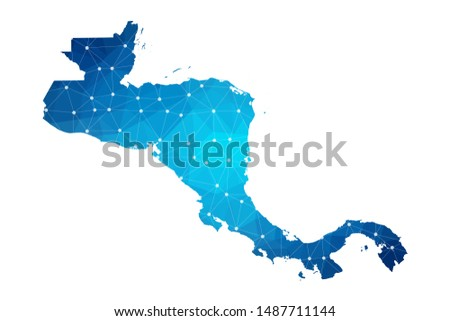 Abstract Central America Map geometric rumpled triangular low poly style gradient graphic on white background , line dots polygonal design for your . Vector illustration eps 10