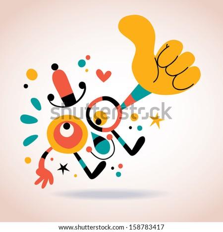 abstract character thumb up