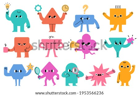 Abstract characters. Geometric comic creature emotions. Funny face business team avatar with magnifier, light bulb and megafon, vector set. Different shapes for math learning and teaching