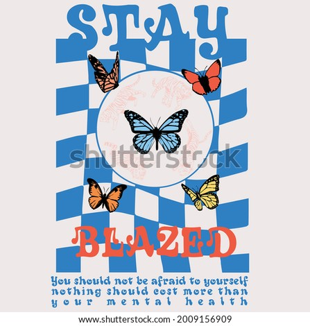 Abstract checkered retro print design with slogan and butterfly illustrations for t shirt print design or other uses