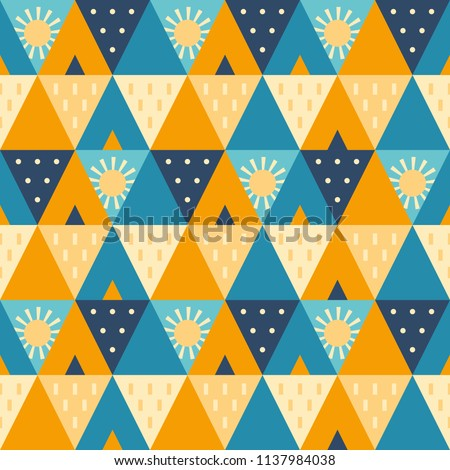 Abstract cheerful and warm 'camping at the beach' vector illustration in blue and yellow tones. Seamless trendy geometric repeat pattern. Perfect for editorial design, textiles, wrapping paper etc. - Shutterstock ID 1137984038