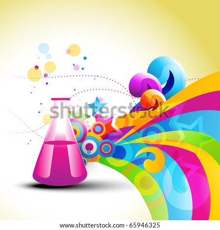abstract chemical bottle in colorful background - stock vector