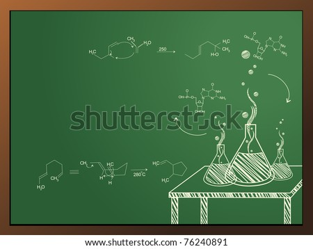 abstract chemistry class concept background, vector illustration - stock vector