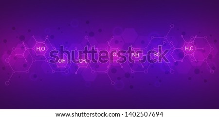 Abstract chemistry pattern on purple background with chemical formulas and molecular structures. Science and innovation technology concept