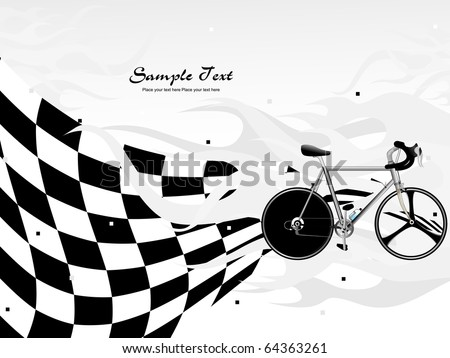 abstract chequered flag background with isolated Mountain Bike, illustration