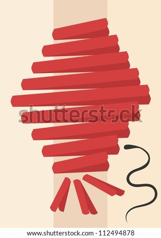 abstract chinese lantern with snake symbol - stock vector