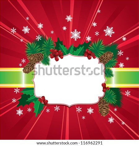 Abstract Christmas and New Year red background with holly berries and leafs and christmas tree