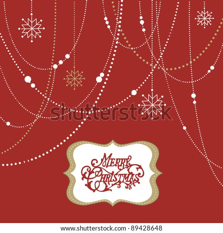 Abstract Christmas Background, christmas decorations, snowflakes and a frame