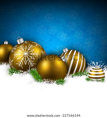 Abstract christmas background with fir branches and red balls. Vector illustration.