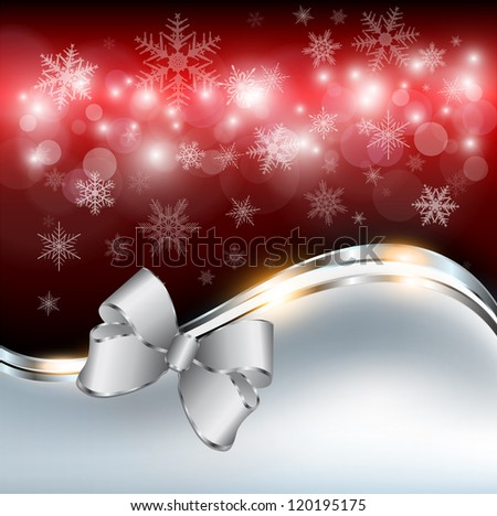 Abstract christmas background with snowflakes and a bow, vector.