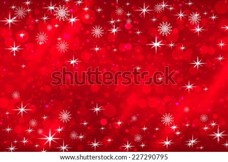 Abstract Christmas background with snowflakes and shiny stars in red and white. New year lights, starry sky