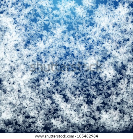 Abstract Christmas background with soft fluffy snow made of realistic falling snowflakes.