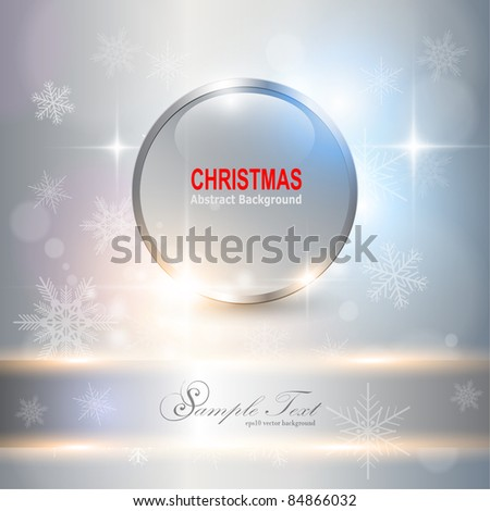 Abstract Christmas background with white snowflakes, vector.