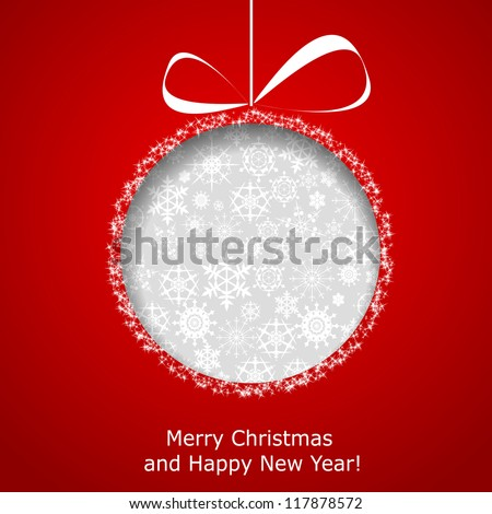 Abstract Christmas ball cutted from paper on red background. Vector eps10 illustration