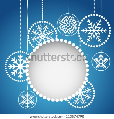 Abstract christmas balls with ornament of snowflakes