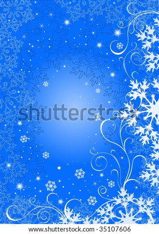 abstract christmas blue background - stock vector