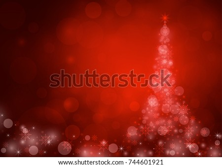 Abstract christmas bokeh red color background. vector illustration