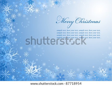 Abstract Christmas card with light snowflakes of the various shapes - stock vector
