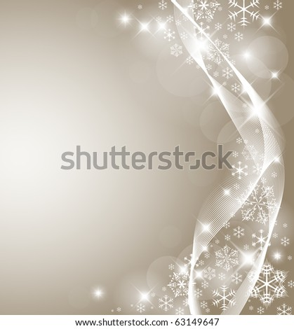 Abstract Christmas card with white snowflakes and lights