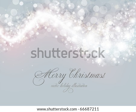 Abstract Christmas card with white snowflakes and lights - stock vector
