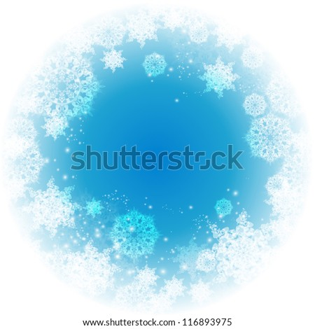 Abstract Christmas frame with snowflakes. Vector.