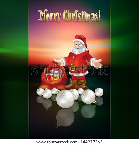 abstract Christmas greeting with Santa and decorations